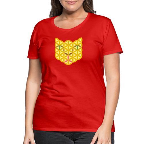The Cat Of Life - Sacred Animals, B04, Yellow. - Women's Premium T-Shirt