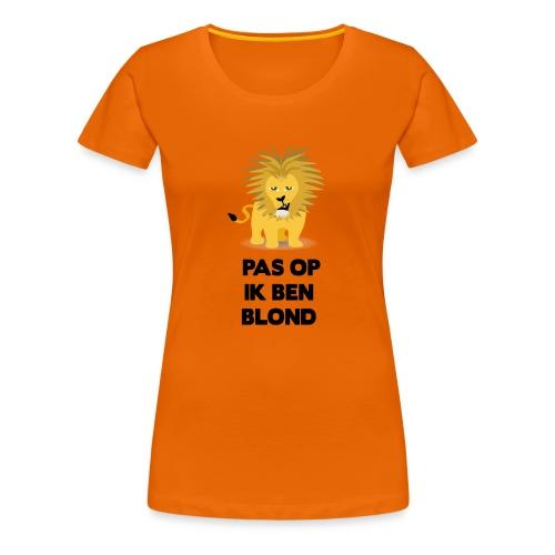 Pas op ik ben blond een cartoon van blonde leeuw - Vrouwen Premium T-shirt