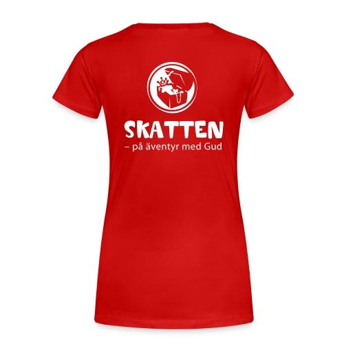 SKATTEN logotyp vit stor png - Premium-T-shirt dam