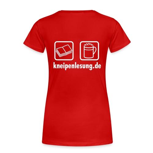 Kneipenlesung Logo mit Url 130 - Frauen Premium T-Shirt