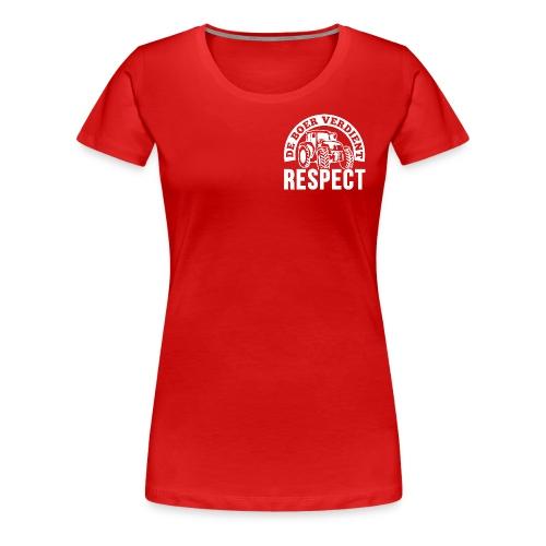 LOGO WIT DeBoerVerdientRespect png - Vrouwen Premium T-shirt