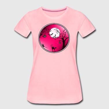 Halloween maisema Vaaleanpunainen - Naisten premium t-paita
