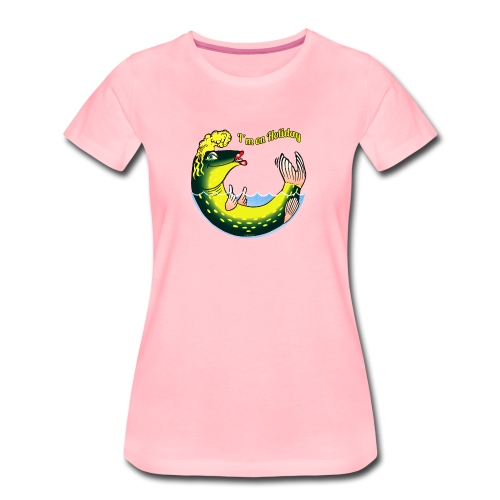 10-39 LADY FISH HOLIDAY - Haukileidi lomailee - Naisten premium t-paita