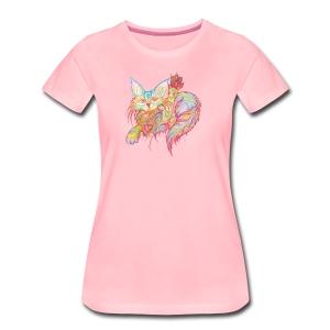 Winkekatze mit Herz - Frauen Premium T-Shirt