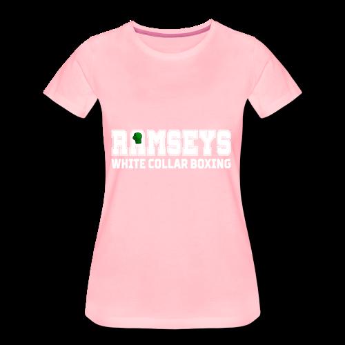Ramseys White Collar Boxing White Logo - Women's Premium T-Shirt