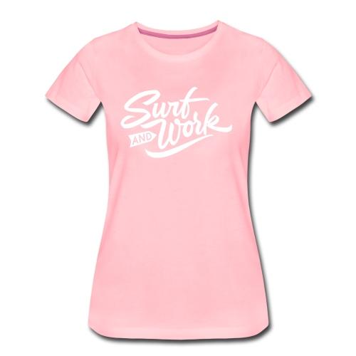 Surf and work logo white solid - Frauen Premium T-Shirt
