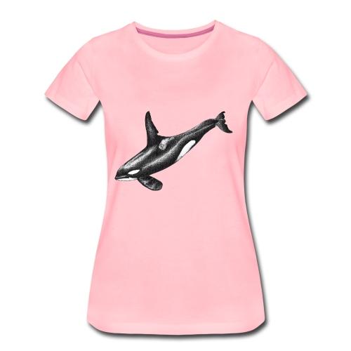 Orca ballena asesina Dibujo tinta blanco y negro - Camiseta premium mujer