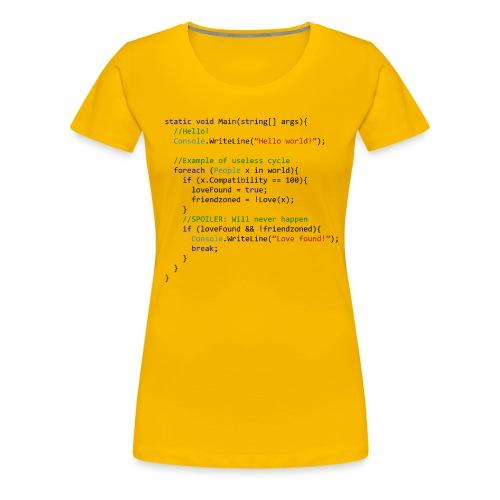 Love seen by a C# programmer - Maglietta Premium da donna