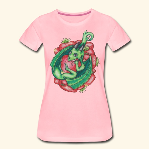 Drake med jordgubbar - Premium-T-shirt dam