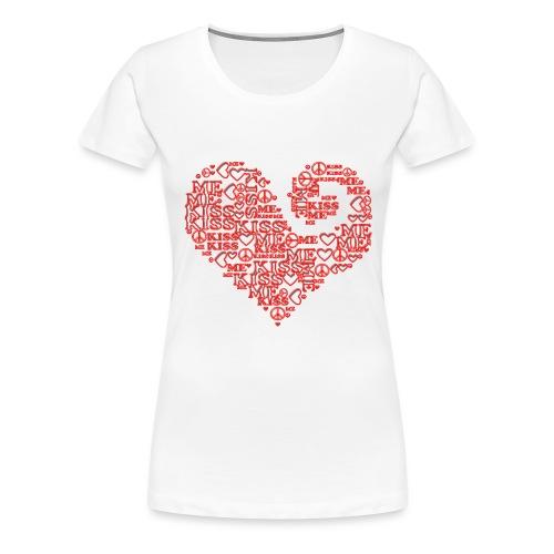 kiss me peace - heart - Frauen Premium T-Shirt