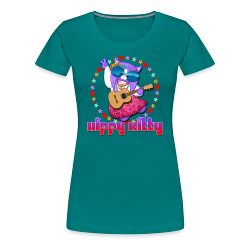 Hippy Kitty - Maglietta Premium da donna