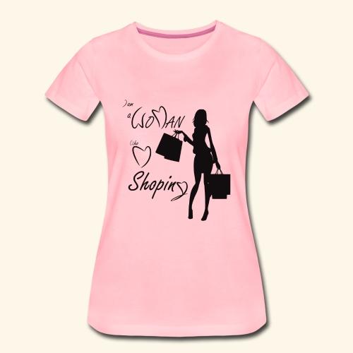 I am a woman who love shopping - Women's Premium T-Shirt