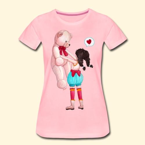 Fille au Nounours géant - T-shirt Premium Femme