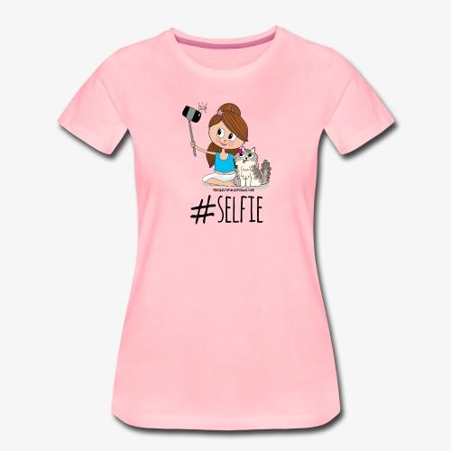 Chica y gato haciéndose foto - Camiseta premium mujer