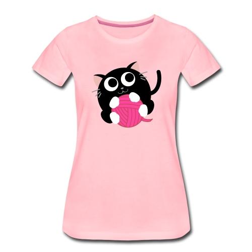 Katze mit Wollknäuel - Frauen Premium T-Shirt