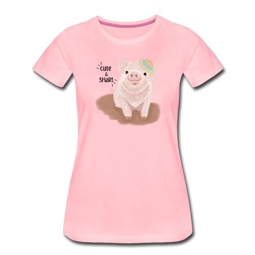 Cute & Smart Pig - Women's Premium T-Shirt