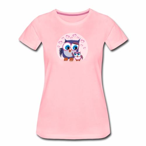 10-31 OWLS LOVE - PÖLLÖT, Äiti ja lapsipöllö - Naisten premium t-paita