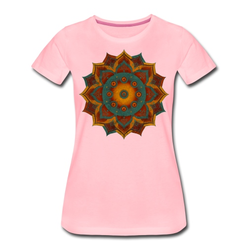 HANDPAN hang drum MANDALA teal red brown - Frauen Premium T-Shirt