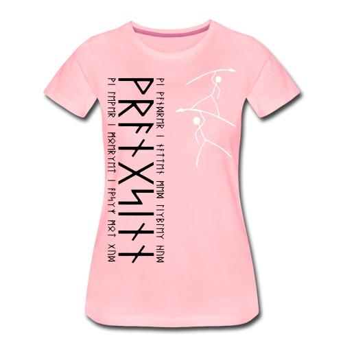 2 Hostile stickfigure cavemen with pointy sticks - Women's Premium T-Shirt