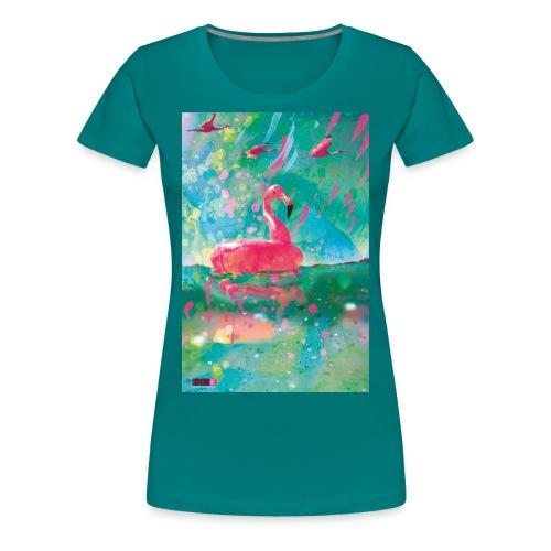 05 Flamingo Summer Dream Poster Margarita Pop Art - Frauen Premium T-Shirt
