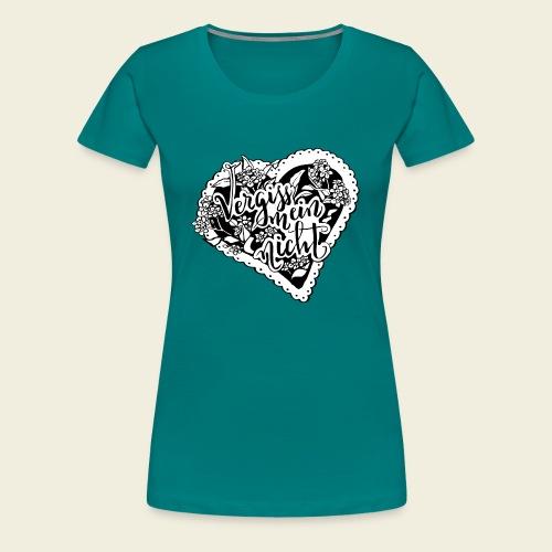 Vergissmeinnicht-Herz mit weißem Hintergrund - Frauen Premium T-Shirt