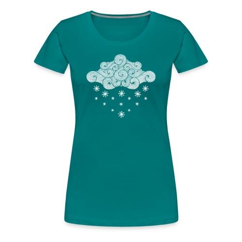 nuage blanc et flocons vacances d'hiver - T-shirt Premium Femme