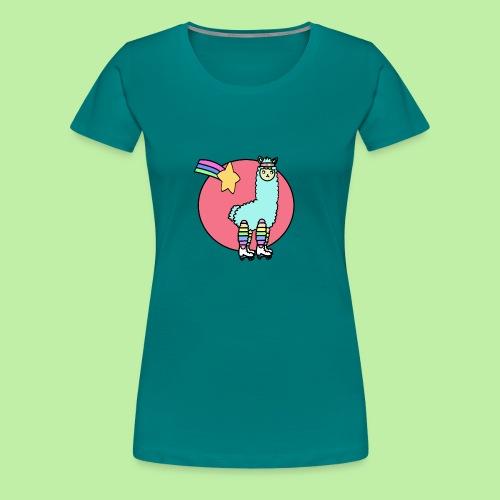 Disco - no drama the 80's kawaii llama - Women's Premium T-Shirt