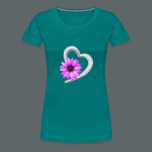 Schmuckherz mit Blume - Frauen Premium T-Shirt
