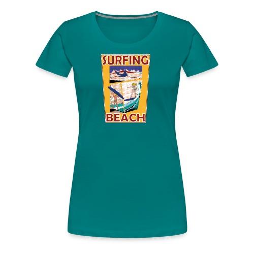 Surfing beach comic Urlaub t-shirt - Frauen Premium T-Shirt