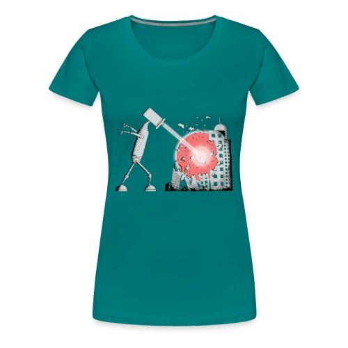 Robot Destroys City - Women's Premium T-Shirt
