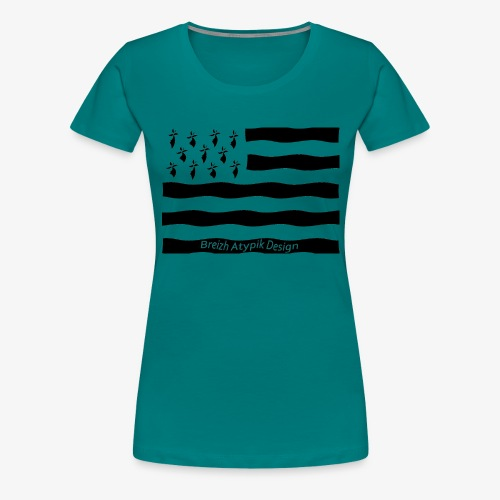 Gwenn ha Du-Noir fond transparent - T-shirt Premium Femme