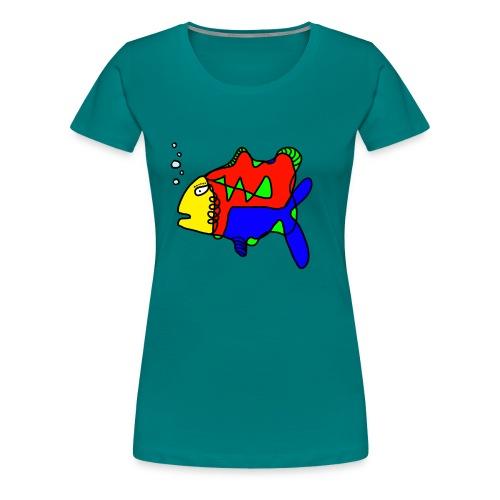 Tusche Fisch --- one line - Frauen Premium T-Shirt