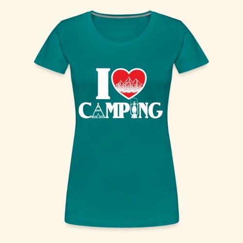 I love camping Herz Berge Zelt Lampe Tent Woods - Frauen Premium T-Shirt