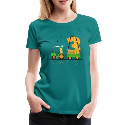Traktor mit Anhänger 3. Geburtstag Geschenk Drei - Frauen Premium T-Shirt