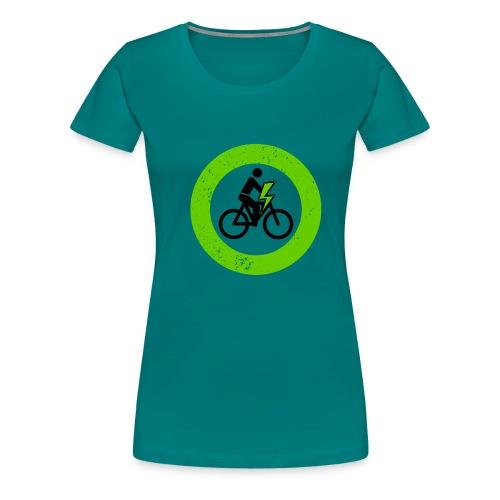 e Bike grün schwarz Schild Logo Emblem - Frauen Premium T-Shirt