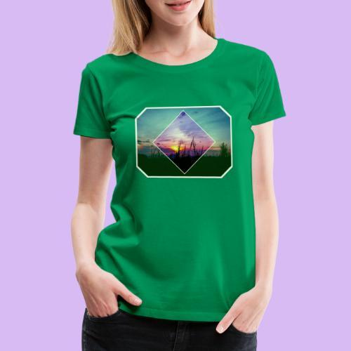 Tramonto in risalto tra figure geometriche - Maglietta Premium da donna
