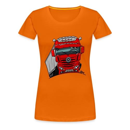 0807 M truck rood trailer - Vrouwen Premium T-shirt