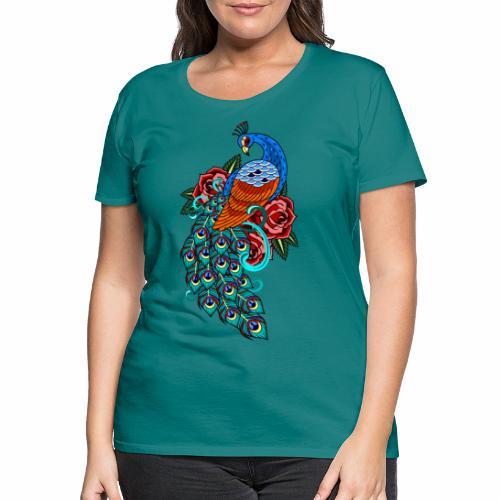 Farverig påfugl - Dame premium T-shirt