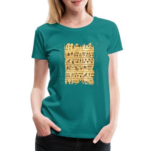 Ausgerissener Papyri mit Hieroglyphen - Frauen Premium T-Shirt
