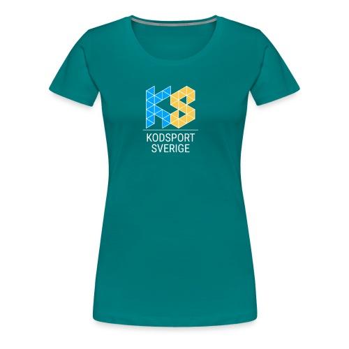 Kodsport kvadratisk logotyp - vit text - Premium-T-shirt dam
