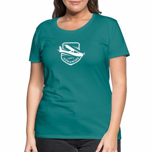 Left Downwind badge logo white - Women's Premium T-Shirt