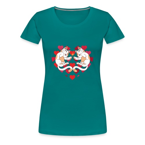 Katze Liebe Herze - Women's Premium T-Shirt