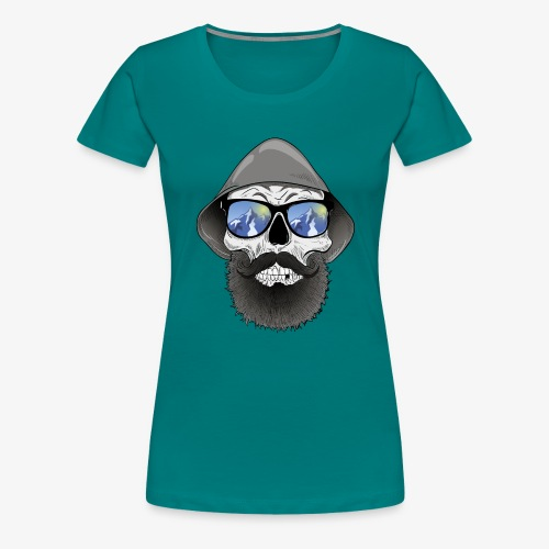 Totenkopf mit sonnenbrille und hut - Frauen Premium T-Shirt