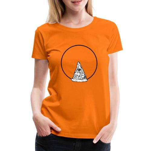All sehendes Auge Pizza (schwarzer Druck) - Frauen Premium T-Shirt