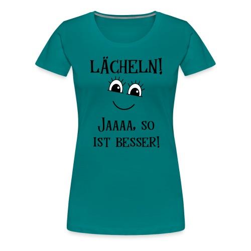 Lächeln Lachen Glückliches Gute Laune Gesicht - Frauen Premium T-Shirt