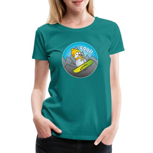 Schneemann auf Snowboard - Frauen Premium T-Shirt