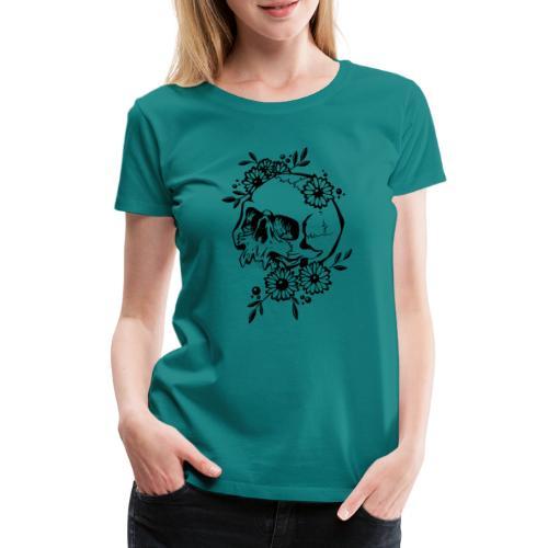 Skull and Flowers - Premium-T-shirt dam