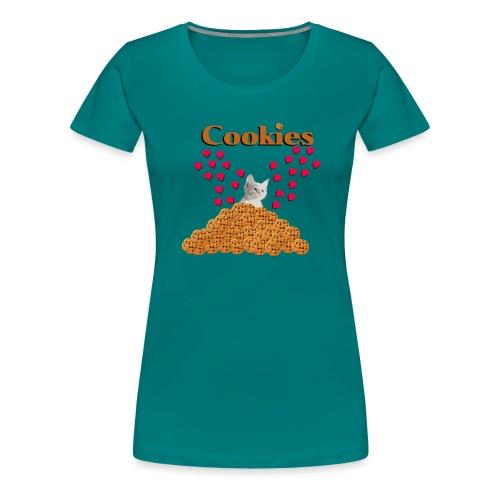 Cookies and cat Cat in biscuits heart - Women's Premium T-Shirt