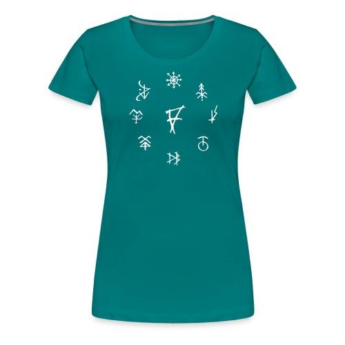 Círculo de runas blanco - Camiseta premium mujer