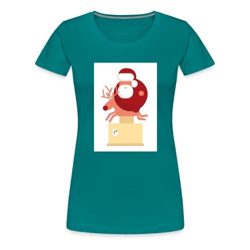 Kerstman op speelgoed rendier - Vrouwen Premium T-shirt